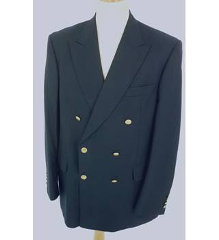 "Aquascutum Size: L,  42"" chest, reg fit Dark Navy Blue With Gold Effect Buttons Stylish Wool Designer Double Breasted Blazer"