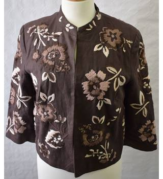 Marks and Spencer Brown linen embroidered jacket Size 12 M&S Marks & Spencer - Size: 12 - Brown - Casual jacket / coat