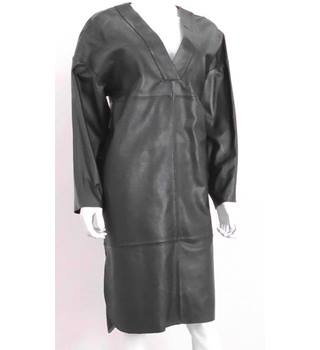 NWOT Autograph Size 10 Leather Dark Green Oversized Dress