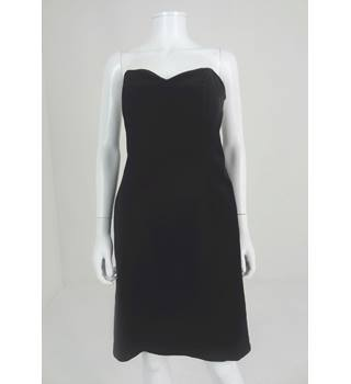 Vintage Laura Ashley Circa 1980s Size 14 Black Velvet Strapless Dress