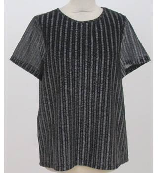 Reiss - Size: L - Striped  Black and Silver Shinny Top