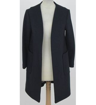 NWOT: M&S Size XS: Navy blue collarless edge to edge coat