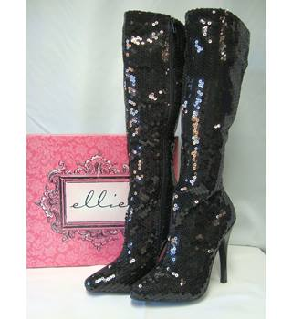 Ellie Knee High Stiletto Sequin Boots - black, size 5
