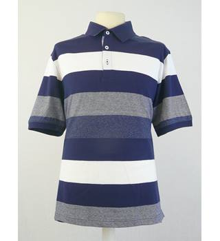 BNWT Marks & Spencer - Size: M - Blue Striped - Polo Shirt
