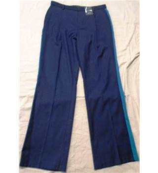 M&S Autograph - Size 12 - Navy blue with turquoise/cyan side striped trousers