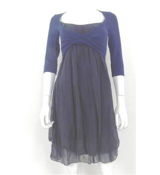 Phase Eight - Size S - Navy and Grey Contrasting Pleated Dress