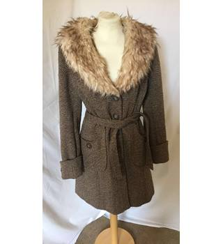 Woman's Faux Fur Collared Coat H&M - Size: S - Brown - Casual jacket / coat