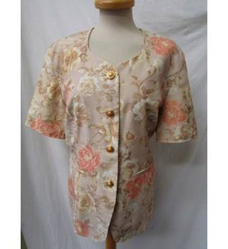 Retro BHS - Size: 16 - Light Brown with floral patterns - Smart short sleeved jacket
