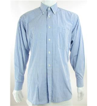 "Pierre Cardin Size 16"" collar - Cornflower Blue, Steel Blue and White Chequered Long Sleeved Shirt"