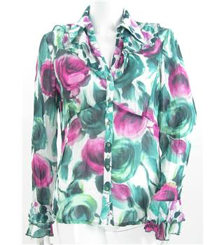 Per Una - Size: 12 - Green and Pink Rose Print Blouse
