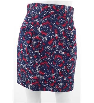 French Connection Size 10 Navy with red and white abstract print Boho style mini skirt