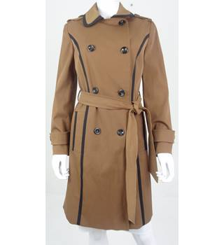 Debenhams Size 12  Tan Petite Collection Coat with Black Trim