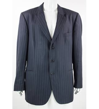 Aquascutum - Size: 50R -Navy Blue/White  - 100% Wool - Single breasted suit jacket