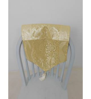 Beautiful Metallic Yellow Table Runner With Floral Design & Tassels