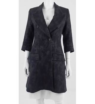 All Saints Size 10 Black Wool & Linen Blend Fitted Coat