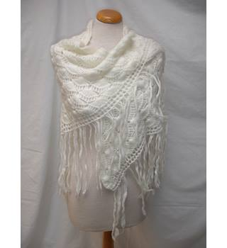 Vintage Wool Shawl with Tassels