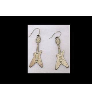 Pair Novelty Earrings, Guitar Design Unbranded - Metallics