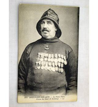 Old Postcard of French Lifeboat Man with Medals