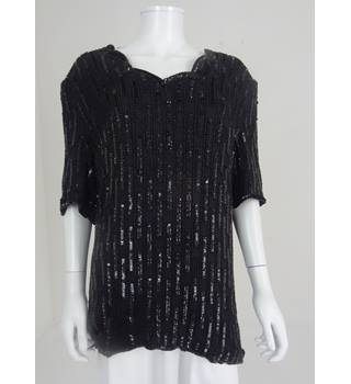 "Vintage Frank Usher Circa 80s 39"" Bust Black Sequin And Beaded Silk Top"