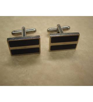 Purple and silver metallic cufflinks