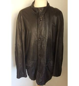 Armani Jeans Leather Jacket - Size: L - Brown