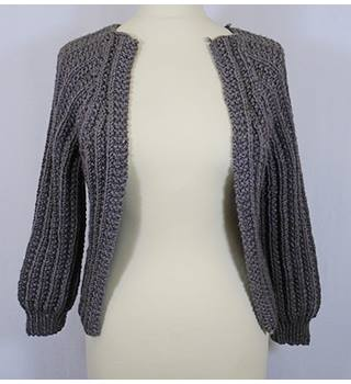Hand-knitted - Size: M - Grey - Cardigan