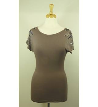 Vila Brown Ladies T-Shirt Top Size XS Vila - Size: XS - Brown - T-Shirt