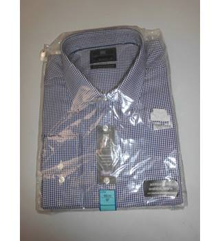 "MS Collection Size 18"" Collar Navy Blue and White Checked Shirt"