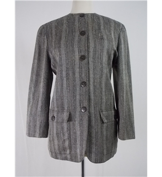 Jaeger size 10 grey herringbone pattern jacket