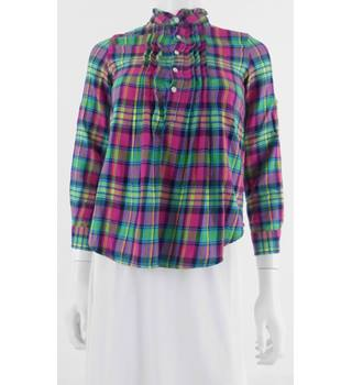 Polo Ralph Lauren Size 8 Pink?Green Mix Checked Blouse With Frill Detail