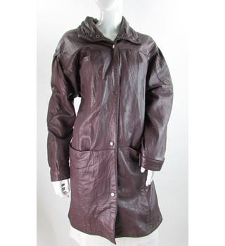 VINTAGE Red Leather - Size: L - Plum - Leather Coat