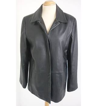 "M & S Size: 12, 35.5"" chest Black  Casual/Stylish Real Leather Jacket"