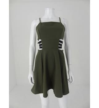 Asos Size 10 Khaki Green Short Dress