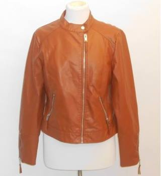 M&S Women's TanLeather Jacket Size: 14 M&S Marks & Spencer - Size: 14 - Brown - Jacket
