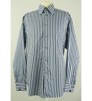 Marks & Spencer - Size: M - Blue - Striped Cotton Shirt