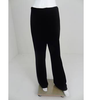 Frank Usher Size 16 Black Velour Wide Leg Trousers With Stretch