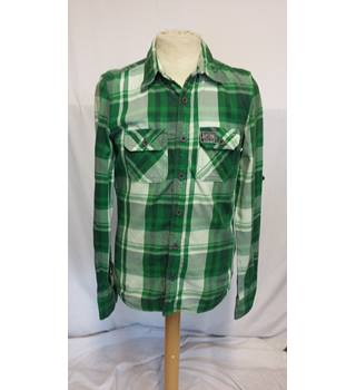 SUPERDRY green checked shirt size small SUPERSRY - Size: S - Green - Long sleeved shirt