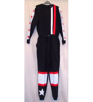 BNWT ASOS  Size 8  Black long sleeved Jumpsuit with placement print stars and stripes in white and red