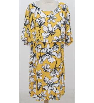 M&S Marks & Spencer - Size: 12 - Yellow mix - Knee length dress with attached draping cape