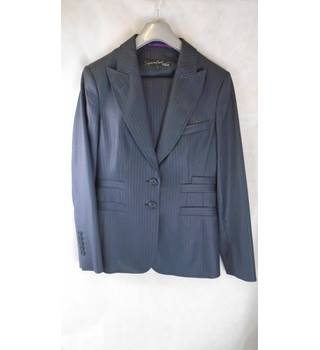 NAVY STRIPED SUIT JACKET AND TROUSERS FROM NEXT, SIZE 12 Next - Size: 12 - Blue - 3 piece trouser suit
