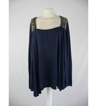 Monsoon - Size: 14 - Blue Sequinned - Draping Top