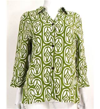 JM Collection Size 10 Olive Green and White Geo Print Linen Shirt