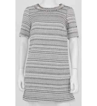 BNWT Zara Basics XS Black White monochrome Tunic Dress