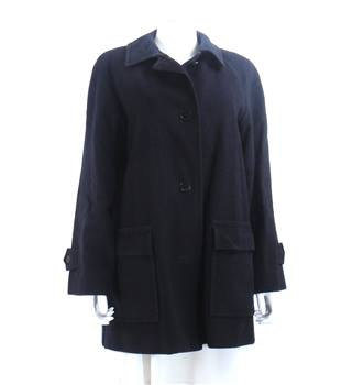 Aquascutum Size: M Navy Blue Wool Cashmere Blend Coat