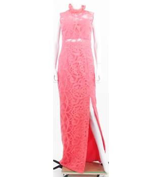 ASOS Size 10 Lace Effect Coral High Neck Evening Dress