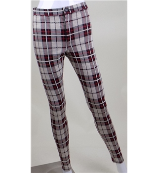 ASOS size: 10 red/black/beige tartan leggings