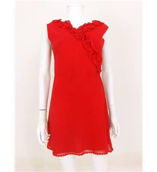 *Vintage 1980s Size 10 Postbox Red Ruffle Day Dress
