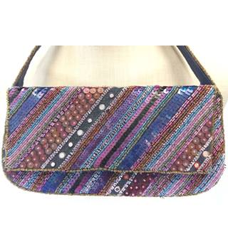 East purple mix sequinned & beaded handbag