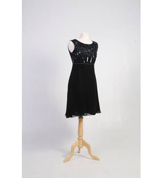 Vintage mackays size 10 cocktail dress black chiffon with sequinned top Mackays - Size: 22 - Black - Cocktail dress
