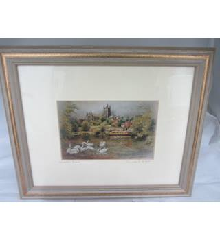 Special Edition Worcester Cathedral from Fort Royal by CH HUGHES IN A FRAME